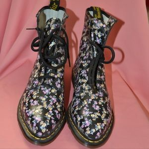 Dr Martens Airwair Leather Floral Combat Boots